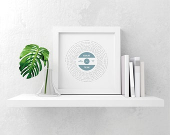 Personalised favourite song lyrics record vinyl design print gift, any song, any colour