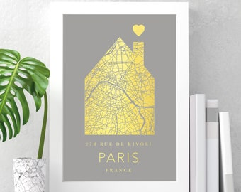 Personalised foil printed house address city map | any city | gift print in copper, gold or silver, any city, town, location | new home gift