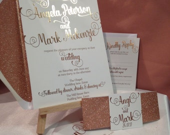 Luxury rose gold and white wedding invitation package