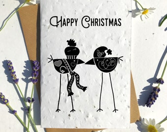 Biodegradable seed paper Christmas festive season greetings card traditional black Nordic birds