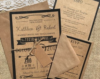 Rustic recycled ornate festival kraft wedding invitations with envelopes