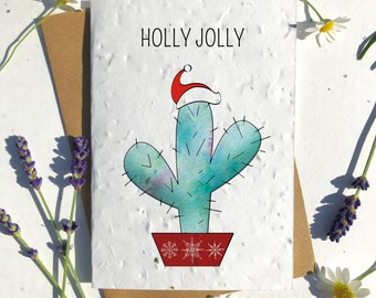 Biodegradable seed paper Christmas festive season greetings card traditional cactus plant
