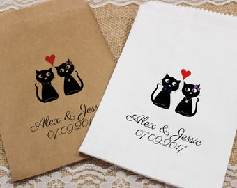 Personalised Wedding Sweet Bags LOVE CATS HEART Candy Cart Wedding Favours Confetti Engagement
