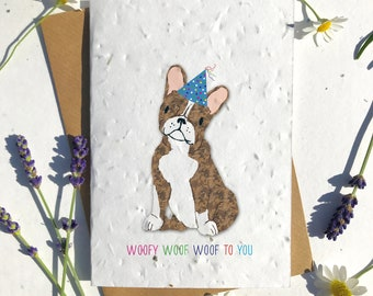 1 x Eco-Friendly Biodegradable Seed Paper plantable birthday card brown french bulldog