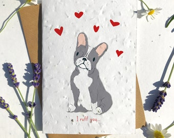 1 x Eco-Friendly Biodegradable Seed Paper plantable Valentine's and Anniversary Card adorable cute grey french bulldog