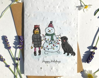 Biodegradable seed paper Christmas festive season greetings card traditional snowman family