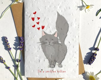 1 x Eco-Friendly Biodegradable Seed Paper plantable Valentine's and Anniversary Card adorable cute grey ragdol cat