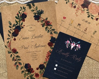 Boho floral timeline textured recycled kraft wedding invitations with envelopes