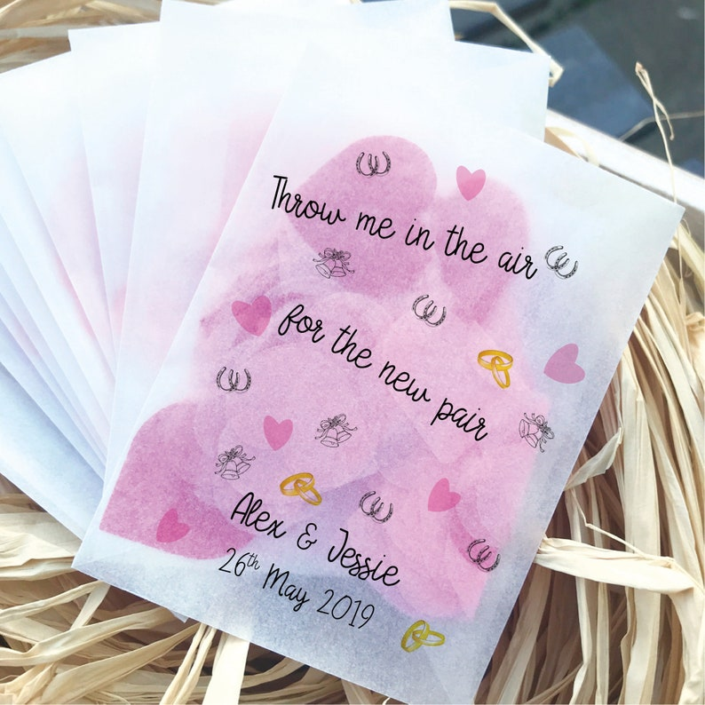 10 Personalised glassine Let Love grow seed Confetti Favour bags wedding UR TEXT