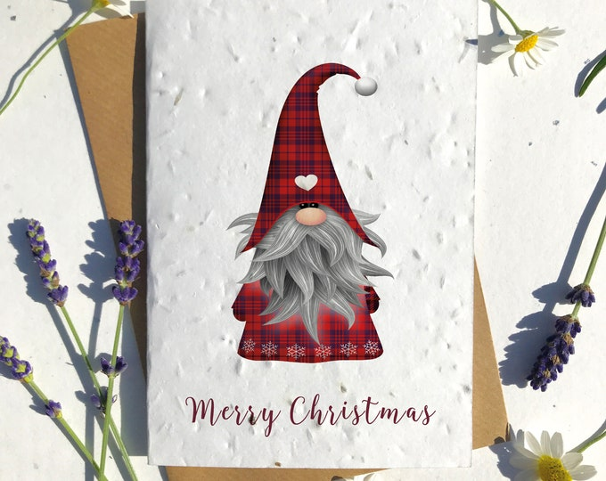 Featured listing image: Biodegradable seed paper Christmas festive season greetings card traditional red gnome