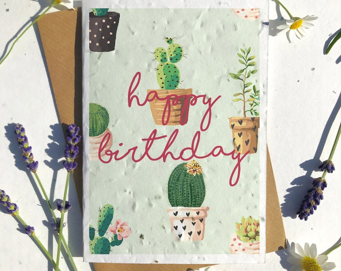 Featured listing image: 1 x Eco-Friendly Biodegradable Seed Paper plantable birthday card cactus plant succulent lovers