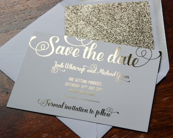 Luxury gold foil on silk white wedding save the date cards with glitter lined white envelopes