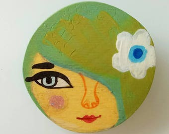 Wooden brooch. Illustrated woman brooch, wooden handmade one of a kind