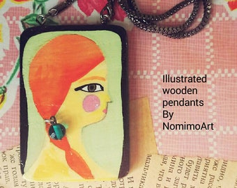 Painted wood necklace , long pendant necklace , wearable art necklace , illustrated jewelry , trendy