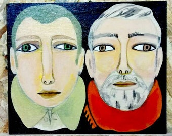 Small wooden painting. Illustrated duo men with scarfs portrait wooden wall decor, hand-drawn plywood, one of a kind