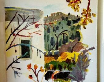 Landscape original painting , canvas painting of Ein carem Jerusalem , church of Dormition jerusalem