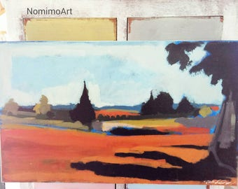 Landscape original painting , acrylic on canvas painting of a view over a small village by Nomi Melul Ohad