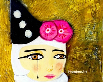 Wooden painting , Illustrated clown portrait wooden wall decor , sad female clown , layered hand-drawn plywood, one of a kind