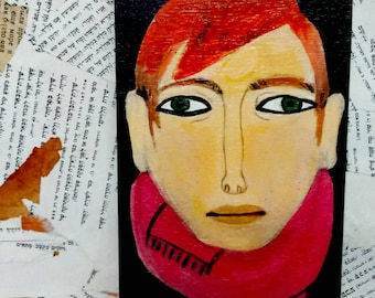 Small wooden painting. Illustrated man with a pink scarf portrait wooden wall decor, layered hand-drawn plywood, one of a kind