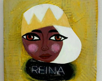 Small wooden painting. Illustrated Reina portrait wooden wall decor, layered hand-drawn plywood, one of a kind