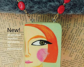 Painted wood necklace , long pendant necklace , wearable art necklace , illustrated jewelry , fashionista