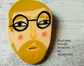 Illustrated man brooch , Fashion wooden hipster bearded ginger hair man with round black glasses