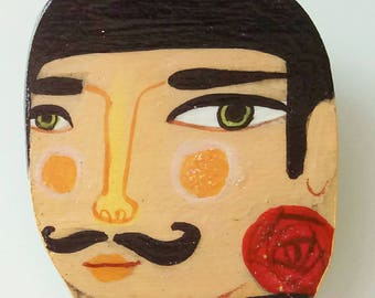 Illustrated man brooch , Fashion wooden Man with a mustash a rose and a choker