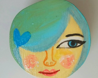Illustrated woman brooch, wooden handmade one of a kind