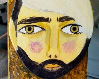 Small wooden painting. Illustrated man with a Barret portrait wooden wall decor, layered hand-drawn plywood, one of a kind
