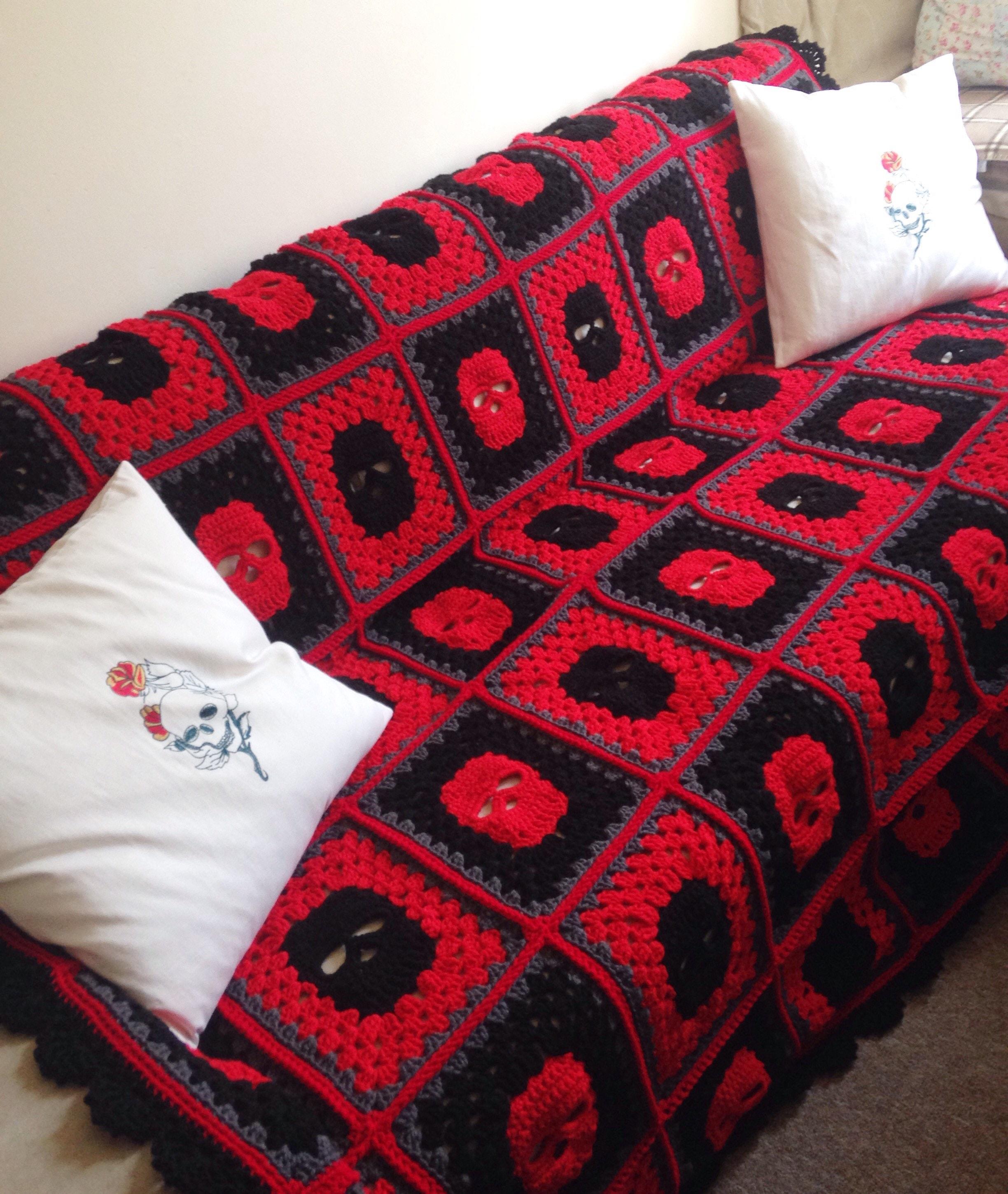 King Size Skull Blanket Crochet Blanket Goth Bedding Skull