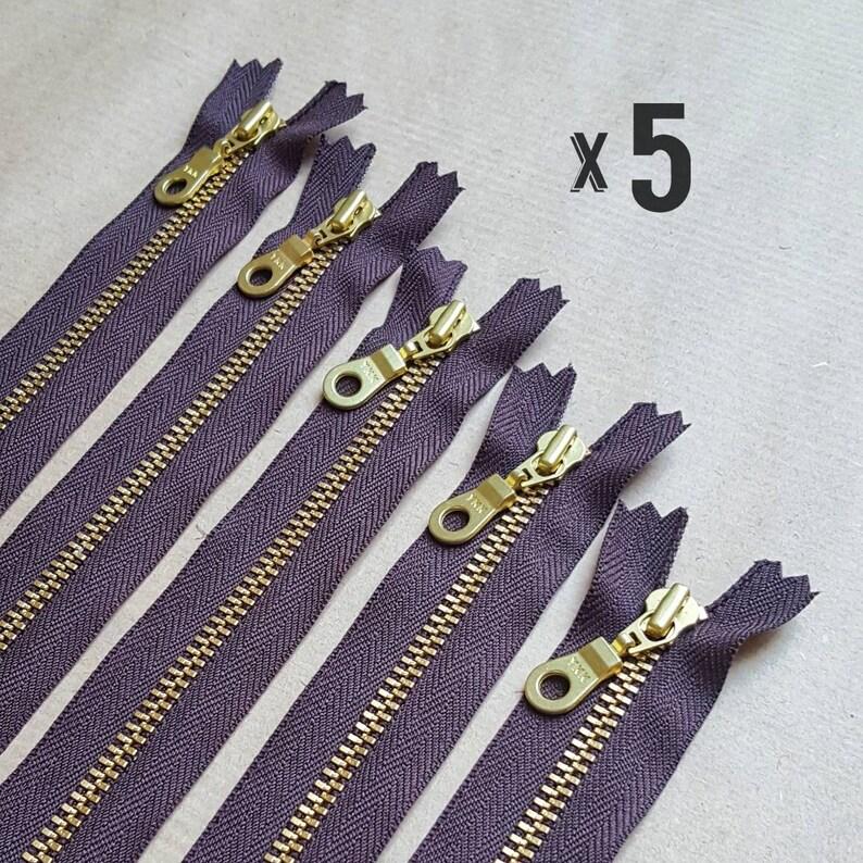 Gold Brass Zipper Doughnut Pull **Pack of 5**  15cm 20cm 23cm 25cm 30cm 36cm  6 8  9 10 12 14 UK YKK BROWN 570