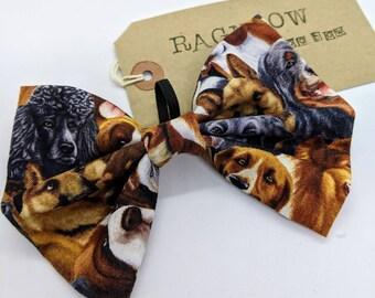 Dog Print Dog Bow | Dog Bow Tie | Dog Faces & Breeds Bow Tie