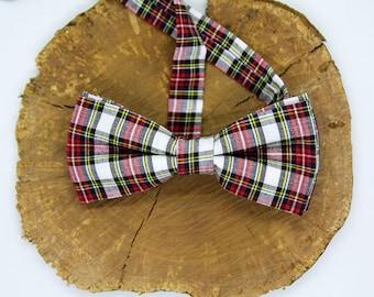 White Tartan Plaid Check Bow Tie