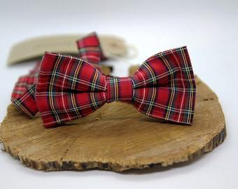 Red Tartan Check Plaid Bow Tie