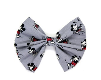 Grey Cute Mickey Mouse Large Hair Bow | Girls Large Hair Bow | Disney | Large Hair Clip | Hair Accessories