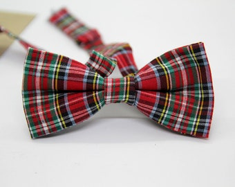 Red And Green Tartan Plaid Check Bow Tie