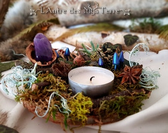 """Cradle of amethyst from the fungi"" candle holder. forest, mystic, witch, pagan, wicca, Gothic. FOREST WITCH collection"