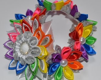Handmade Girl's Rainbow Flower Bun Wrap/Top Knot, Kanzashi Style, School/Party, Hair Flowers, FREE UK DELIVERY