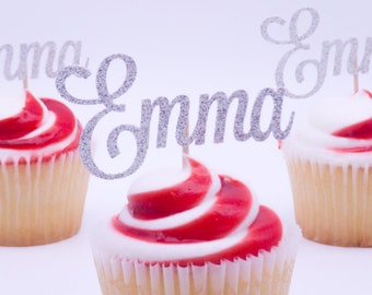 Custom Cupcake Toppers   Personalized Name Cupcake Toppers   Gold Glitter Choice of Font Cupcake Toppers   Birthday Cupcakes Party Decor