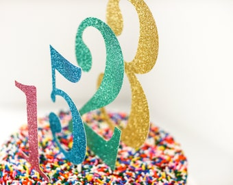 Large Number Cake Topper, Birthday Age, Anniversary, Retirement Parties, Custom Glitter Color