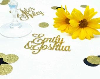 Custom Wedding Bride and Groom Name Confetti   Wedding and Bridal Shower Rehearsal Dinner Table Scatter   Party Decor