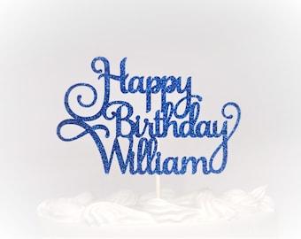 Happy Birthday Custom Name Fancy Cake Topper