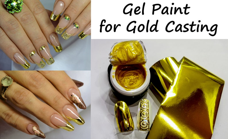 Gold Gel 5 ml and 1m Gold Foil for Gold Manicure , Golden Nails Nail Art