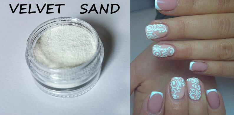 White Velvet Sand Snow on nails Texture nails Nail Art | Etsy