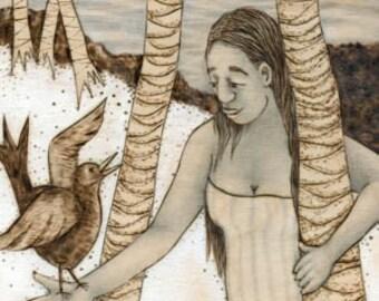 Bird Friend, Hawaii print, nature, bird print, Art Print, Ready to Hang, Canvas, 10x20