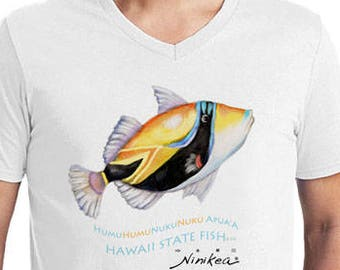 Humuhumu Fish - MAN T-shirt –Hawaii state fish t-shirt, – white cotton fabric, exclusive design – handmade in Hawaii