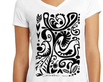 Tribal, Black Birds - V-neck T shirt  – black design, exclusive design, handmade in Hawaii