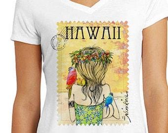 Birds Wahine, V-neck T-shirt , exclusive design – handmade in Hawaii