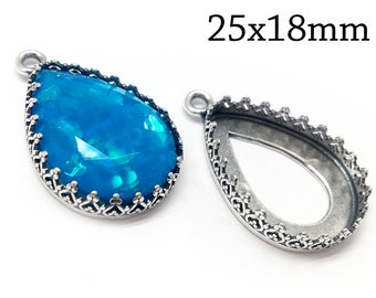 Sterling Silver Cabochon Pendant Setting 25x18mm Findings For Jewellery Making