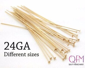 Gold Filled Headpins 14K Gold-Filled Headpins 2x22 gauge Domed Headpins Jewelry Findings Domed Headpins